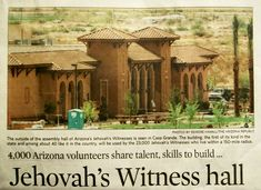 """AZ Republic News Article: Arizona Volunteers Gather to Build Worship Center Near Casa Grande """"It might be the largest volunteer constru. Jehovah's Witnesses Kingdom, Jw Humor, Kingdom Hall, Place Of Worship, Life Is Good, Spirituality, Around The Worlds, Faith, Pictures"""