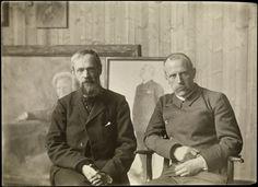 Norwegian explorer Fridtjof Nansen and painter Erik Werenskiold in the latter's studio, circa 1907