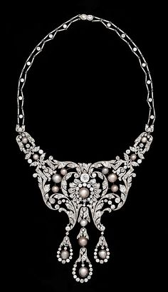 Necklace, Dreicer & Co., c. 1905 | Diamonds, natural pearls, and platinum