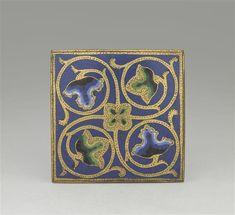 Limoges late 12th century  Plaque decorated with scrollwork Champlevé enamel on gilded copper  Former Durand collection; acquired in 1825 Department of Decorative Arts MR 2670 Louvre Museum, Paris