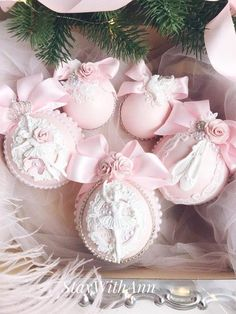 Blush Pink Christmas Ornaments Handmade Xmas Ornaments Vintage Christmas Gifts for Mom from Daughter Shabby Chic Christmas Ornaments SET5pcs