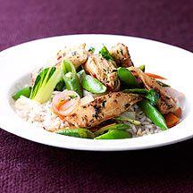 Thai-Hühnchen mit Pak Choi und Zuckerschoten