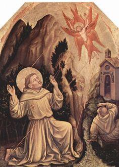 Gentile da Fabriano.  Stigmatisation des Hl. Franziskus. Um 1400-1410, Holz, 87 × 62cm.Privatsammlung.Italien. Gotik.  KO 00333