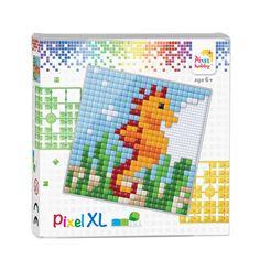 Leuke complete set om een zeepaardje te maken met de grote pixels (XL) op de basisplaat 12 x 12 cm.