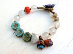 Blooming - handmade bracelet, bead bracelet, white bracelet, colourful bracelet, bird bracelet