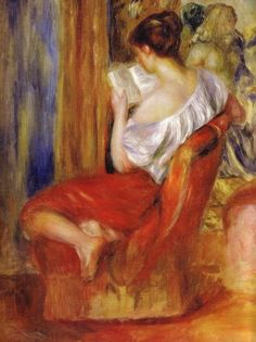 La Liseuse - Reading Woman Pierre-Auguste Renoir (Impressionist, Oil on canvas. Renoir enjoyed depicting his friends and lovers with expressive. Pierre Auguste Renoir, Edouard Manet, Reading Art, Woman Reading, Reading Nook, August Renoir, Renoir Paintings, Art Paintings, Art History