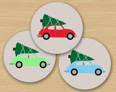 "Retro VW Beetle Bringing Home the Christmas Tree, 2.25"" Printable Circles for Holiday Hang Tags, Stickers, Card Making, Collage, Scrapbook Pages, Seals & Labels, Favors, Decorations."