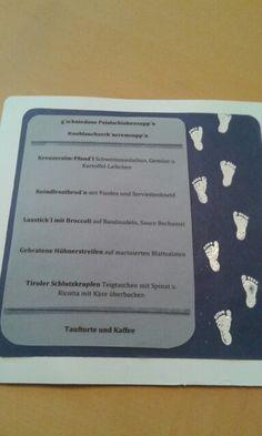 Menükarte Taufe Ricotta, Cards Against Humanity, Leafy Salad, Creative