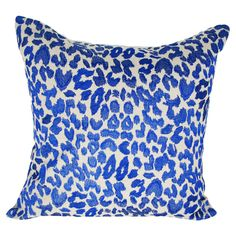 Leopard Pillow in Blue