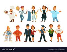 Career professions isolated characters work and job vector chef cook and painter or artist seamstress and hairdresser doctor and spaceman firefighter and plane crew policeman and beach guard , Single Image, Firefighter, Hairdresser, Plane, Vector Free, Career, Royalty Free Stock Photos, Characters, Cook