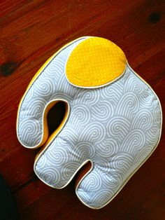 Elephant Pillow Yellow Gray Boy by CecilClyde on Etsy, $49.00