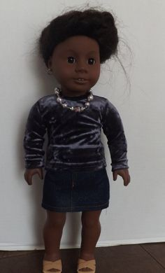 American Girl Doll Clothes Purple Top Denim by HollysDollCouture, $16.99