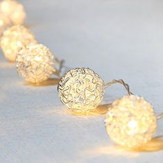 BEIYI Battery Fairy Lights 20 Led Warm White Silver Wire Ball Shape