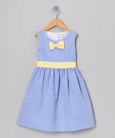 Another great find on #zulily! Gidget Loves Milo Blue & Yellow Gingham Bow Dress - Toddler & Girls by Gidget Loves Milo #zulilyfinds