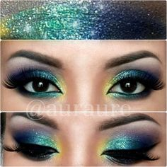 Peacock inspired eye make up. Green, yellow and purple eye makeup. Glamorous wedding make up. Boho Bride make up. Wild bride make up Beautiful Eye Makeup, Pretty Makeup, Love Makeup, Makeup Inspo, Makeup Inspiration, Makeup Looks, Awesome Makeup, Crazy Makeup, Kiss Makeup