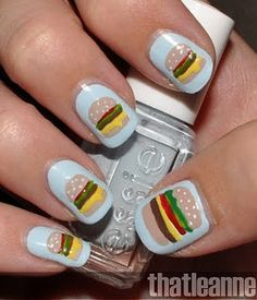 burger themed nail art