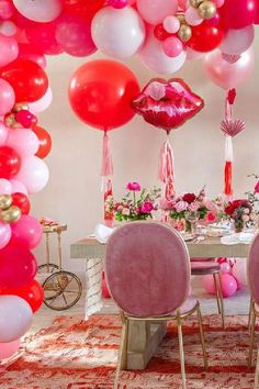 Feast your eyes on this wonderful Valentine's Day party! The decor is fabulous! See more party ideas and share yours at CatchMyParty.com #catchmyparty #partyideas #valentinesday #valentinesdayparty Valentines Day Party, Valentines Day Decorations, Balloon Tassel, Balloon Arch, Balloons, Heart Cakes, Garland, Centerpieces, For Your Party