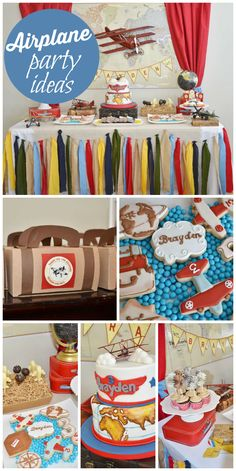 Vintage airplane birthday party for a boy who loves airplanes with suitcase favors and an amazing cake! See more party planning ideas at CatchMyParty.com!