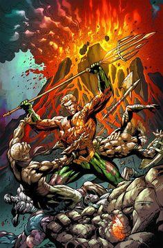 Aquaman by Paul Pelletier and Sandra Hope. Arthur Curry, Aquaman Dc Comics, Dc Comics Art, New 52, Comic Art, Comic Books, Ocean Master, Black Manta, Univers Dc