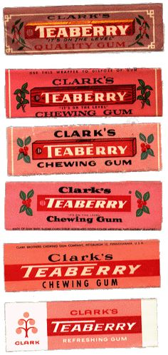 teaberry gum. The only gum I chewed as a teenager. Made gum chains just of Teaberry wrappers