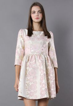 Blossomy Romance Jacquard Dress - Party - Dress - Retro, Indie and Unique Fashion