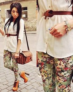 my lovely sister got me a pair of floral leggings for christmas. i have a nice shirt and belt to copy this look. Fashion Words, Love Fashion, Fashion Outfits, Womens Fashion, Fashion Tips, Floral Leggings, Floral Pants, Printed Leggings, Vogue