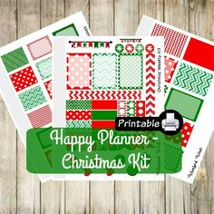 PRINTABLE Happy Planner CHRISTMAS Weekly Kit- Red and Green Stockings Chevron by WhimsicalWende on Etsy