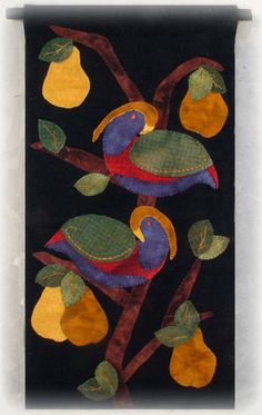 "New 2012 Release Partridge in a Pear Tree Wool Applique Wallhanging Finished size is 11.5"" by 22"" Celebrate the holiday with this c..."