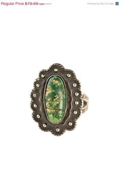 Vintage Navajo Sterling Silver & Natural Green Turquoise Ring C.1930 size 8