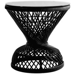 Nepal Black Rattan Table found on Polyvore featuring home, furniture, tables, accent tables, rattan table, black table, onyx table, onyx furniture and black occasional tables