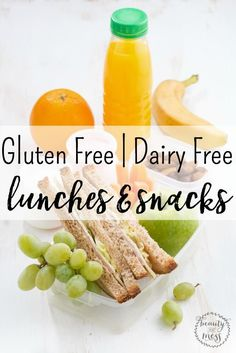 Gluten Free Dairy Free Lunches & Snacks for School, Summer Camp, Picnics, or for menu planning.