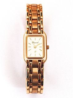 14 karat gold rectangular Charmont ladies' watch. From €3400 for €1699. See more at - http://www.megawatchoutlet.com/women/chamont.html