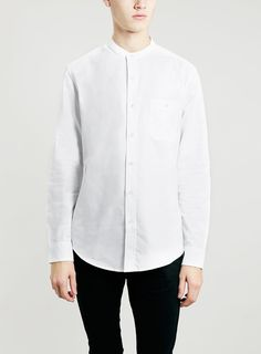 White Stand Collar Oxford Long Sleeve Shirt