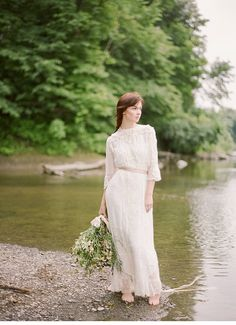Vintage lace natural wedding dress