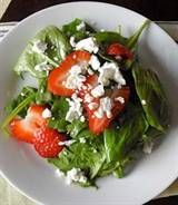 7 New Ways to Dish Up Strawberries -- spinach salad with balsamic vinaigrette, strawberries and goat cheese | Lifescript.com (Photo and article by @Alison Ashton)