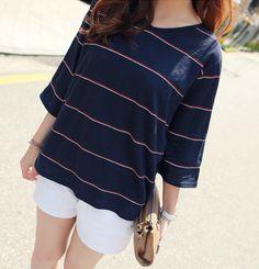 CLICK - 3/4-Sleeve Stripe T-Shirt #tshirt #stripetshirt #stripe