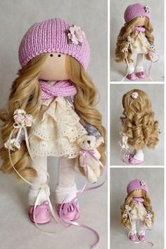 Handmade doll Purple doll Bonita Rag doll Fabric doll Puppen