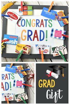 Cute Graduation Gifts: Congrats Grad Gift Card Frame Cute Graduation Gift Ideas: This Congrats Grad Graduation Gifts For Him, High School Graduation Gifts, Graduation Diy, Graduation Pictures, Graduation Parties, Graduation Decorations, Sims 4, 8th Grade Graduation, Senior Gifts
