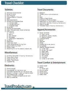 travel packing checklist