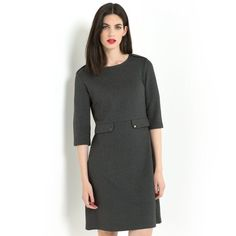 Wool Mix Dress with Three-Quarter Length Sleeves LAURA CLEMENT : price, reviews and rating, delivery. Milano knit dress. Round neckline. Button tab on the shoulders. Three-quarter length sleeves with slit and button. Fitted waist with flap and button at the front. Length 94 cm. 49% viscose, 25% polyamide, 21% wool, 5% elastane.