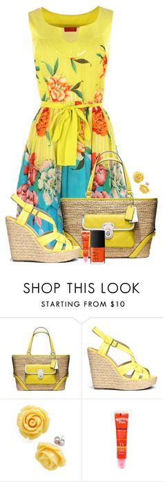 """Tropical Bright Sundress"" by chrissykp ❤ liked on Polyvore featuring Derhy, Coach, JustFab, Retrò, Hawaiian Tropic, NARS Cosmetics, floral, espadrilles, strawbags and summerbrights"