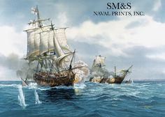 H.M.S. Diana a 38 gun frigate captures the french brig L'euphrosyne, in the English Channel on June 1, 1803. Painting by Tom Freeman