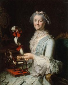 Presumed to be Françoise-Marie Pouget, second wife of Chardin, mid 18th century by Joseph Aved (1702-1766)