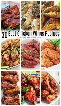 30 Best Chicken Wing Recipes - Around My Family Table You can have delicious, crispy chicken wings at home! I'm sharing my favorite 30 Best Chicken Wing Recipes so that you can cook at home and save some money too. Chicken Wing Flavors, Smoke Chicken Wings Recipe, Easy Chicken Wing Recipes, Best Chicken Wing Recipe, Chicken Wing Sauces, Smoked Chicken Wings, Chicken Parmesan Recipes, Sauce For Chicken Wings, Chicken Wing Marinade