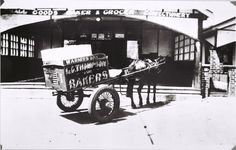 Horse and cart used by Thompson's Bakery, Warners Bay, 1938 Aboriginal People, Newcastle Nsw, Local History, My Town, Vintage Images, Old Photos, Postcards, Transportation, Cart