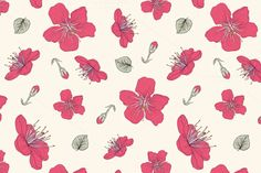 Red Blossoms. Seamless Pattern by House of Vintage on Creative Market