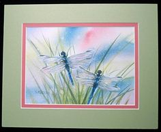8x10 Matted Print, Dragonflies of Summer. Classic summertime sight, dancing in the sunshine. This is a color design matted, giclee print from my original watercolor painting. Use your own standard 8x10 frame for these ready-to-frame matted prints in a size that offers versatility for many areas of home decor. $25.00 each or 2 for $40.00 (any assorted 8x10 size).