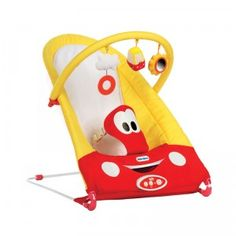 The Little Tikes Cozy Coupe Bouncer from Diono is a bouncer featuring a print inspired by the classic ride-on toy, the Cozy Coupe.