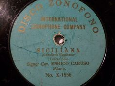 50% Discount in auction now !!!        ENRICO CARUSO ultrarare lightblue Disco Zonofono X-1556  Siciliana  Milan 1902 #78rpm #Schellackplatte