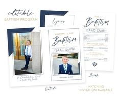 Christmas Card Template, Christmas Photo Cards, Holiday Cards, Lds Baptism Program, Boy Baptism, Baptism Ideas, Baptism Invitations, Program Template, Card Templates